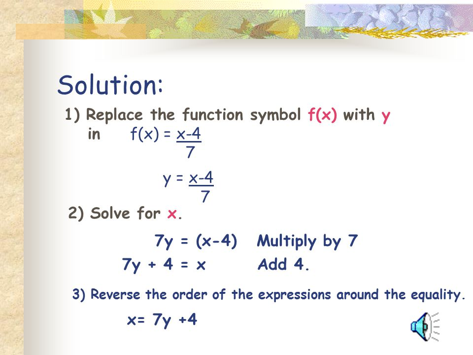Solution: 1) Replace the function symbol f(x) with y in f(x) = x-4 7