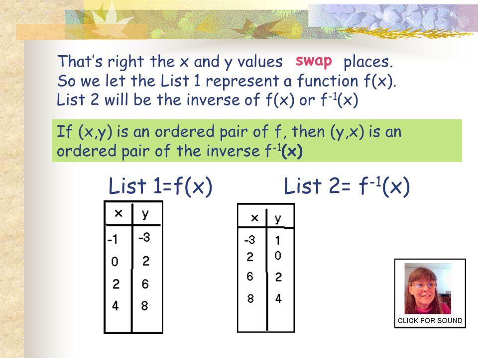 List 1=f(x) List 2= f-1(x) swap
