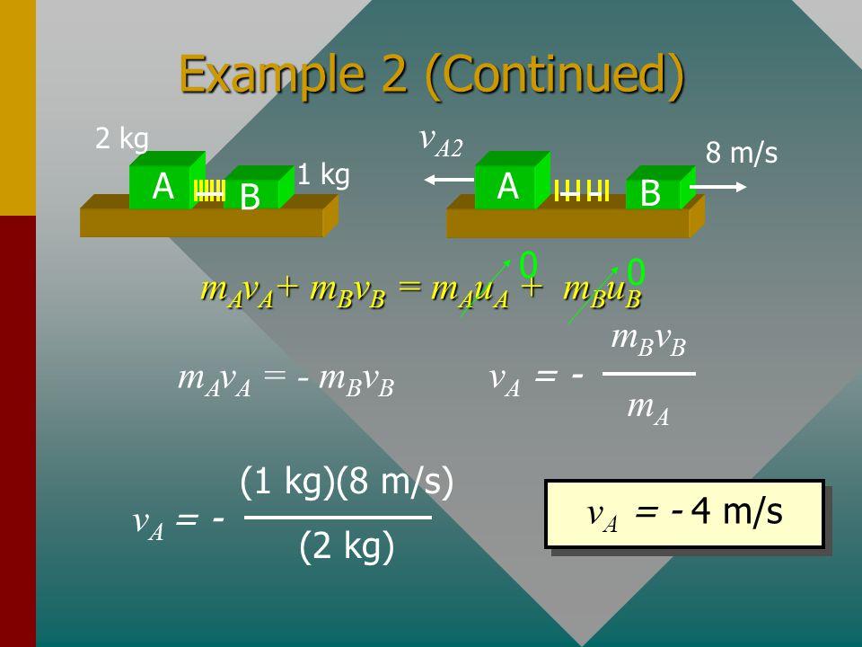 Example 2 (Continued) vA2 mAvA+ mBvB = mAuA + mBuB mBvB mA