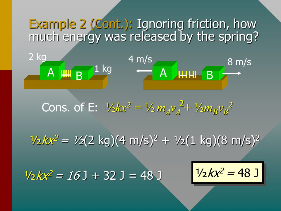 Example 2 (Cont.): Ignoring friction, how much energy was released by the spring
