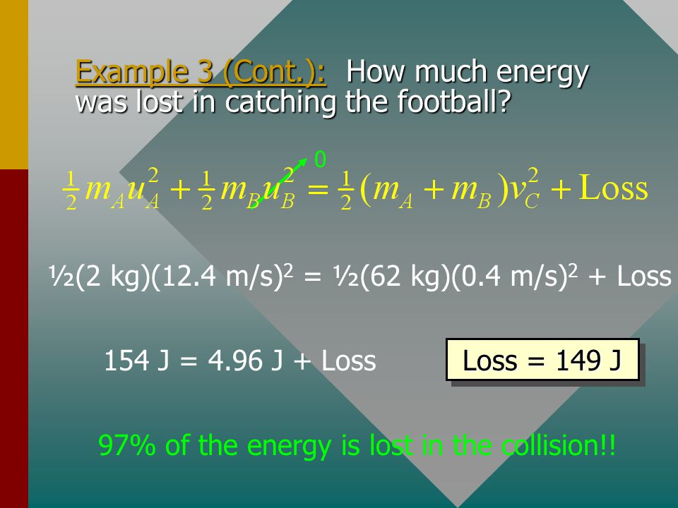 Example 3 (Cont.): How much energy was lost in catching the football
