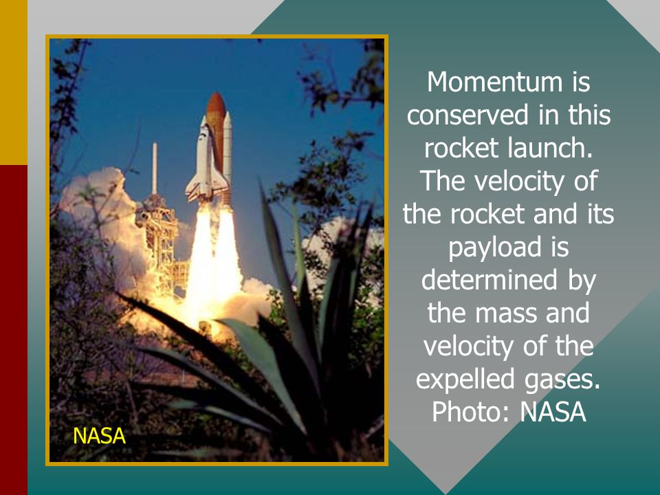 Momentum is conserved in this rocket launch