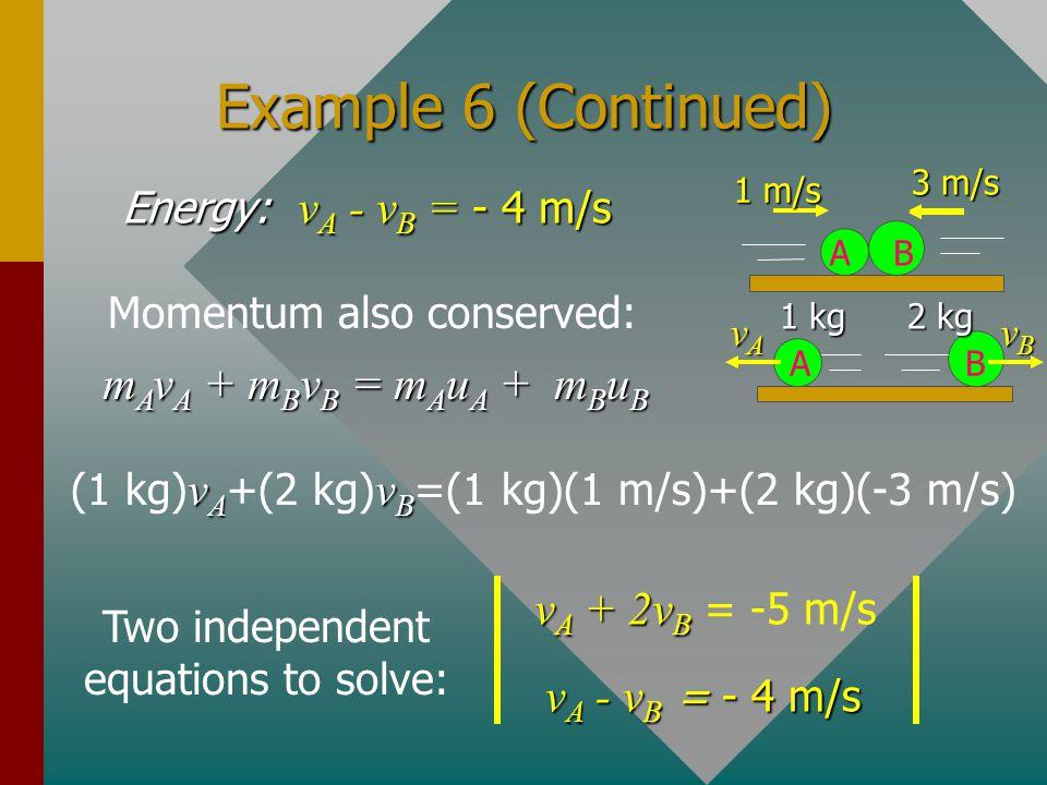 Example 6 (Continued) mAvA + mBvB = mAuA + mBuB vA + 2vB = -5 m/s