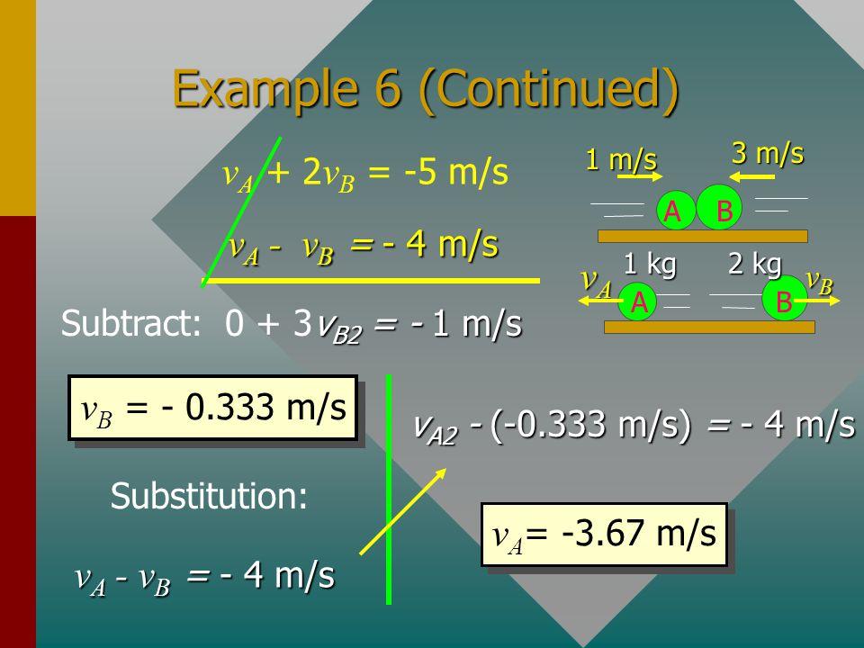 Example 6 (Continued) vA + 2vB = -5 m/s vA - vB = - 4 m/s vA