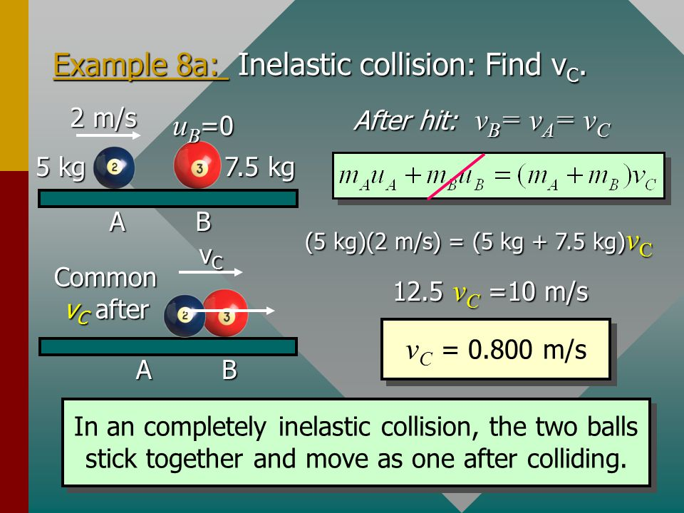 Example 8a: Inelastic collision: Find vC.