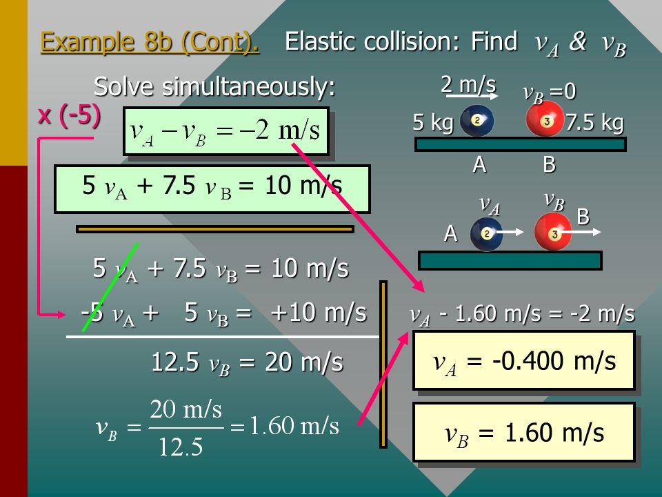 Example 8b (Cont). Elastic collision: Find vA & vB