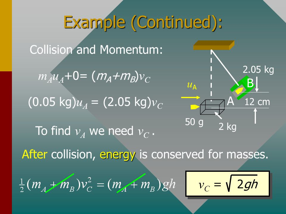 Example (Continued): mAuA+0= (mA+mB)vC vC = 2gh