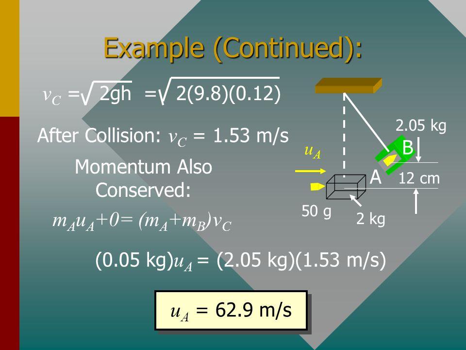 Example (Continued): mAuA+0= (mA+mB)vC uA = 62.9 m/s