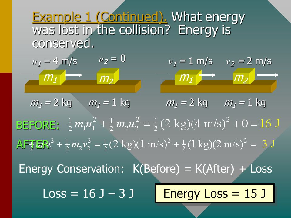 Energy Conservation: K(Before) = K(After) + Loss