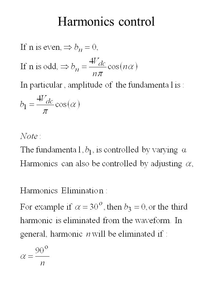 Harmonics control