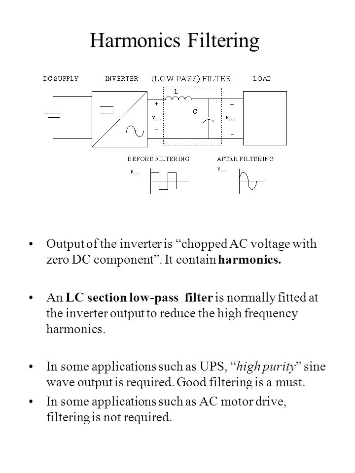 Harmonics Filtering Output of the inverter is chopped AC voltage with zero DC component . It contain harmonics.