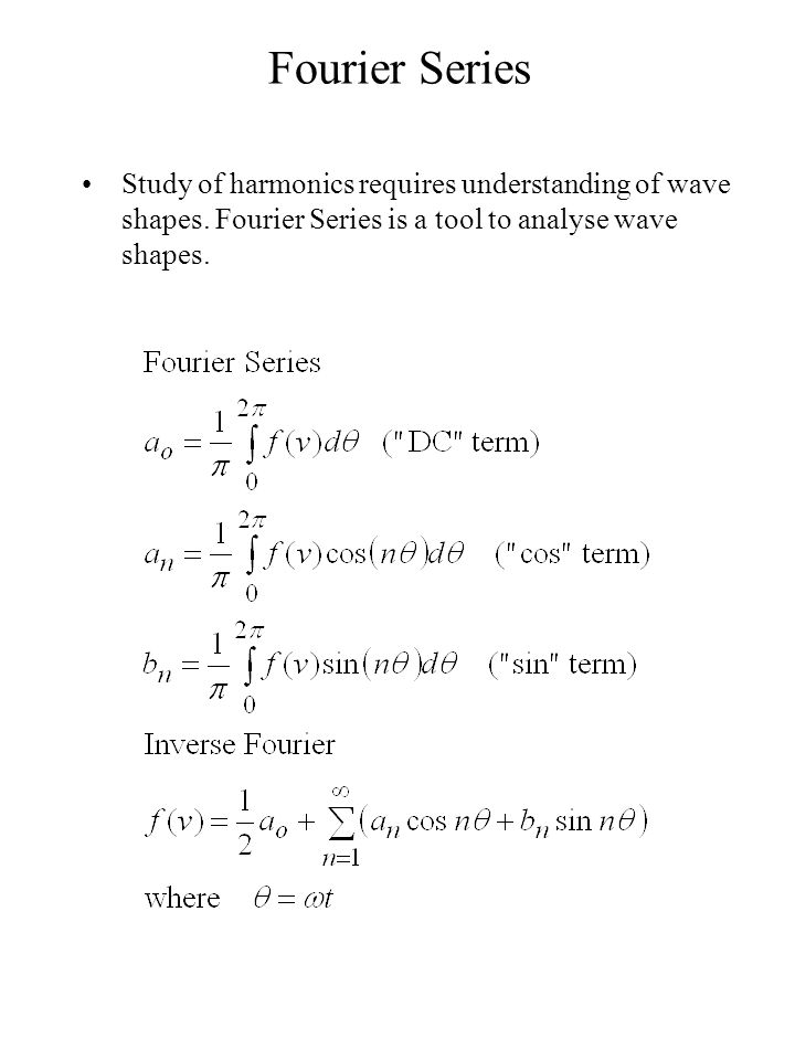 Fourier Series Study of harmonics requires understanding of wave shapes.