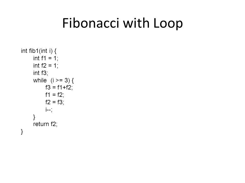 Fibonacci with Loop int fib1(int i) { int f1 = 1; int f2 = 1; int f3;