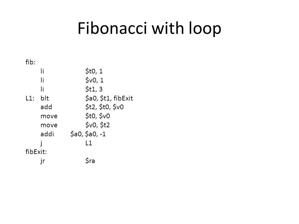Fibonacci with loop fib: li $t0, 1 li $v0, 1 li $t1, 3