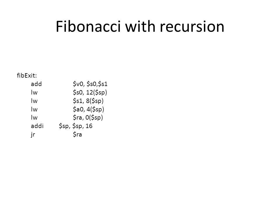 Fibonacci with recursion