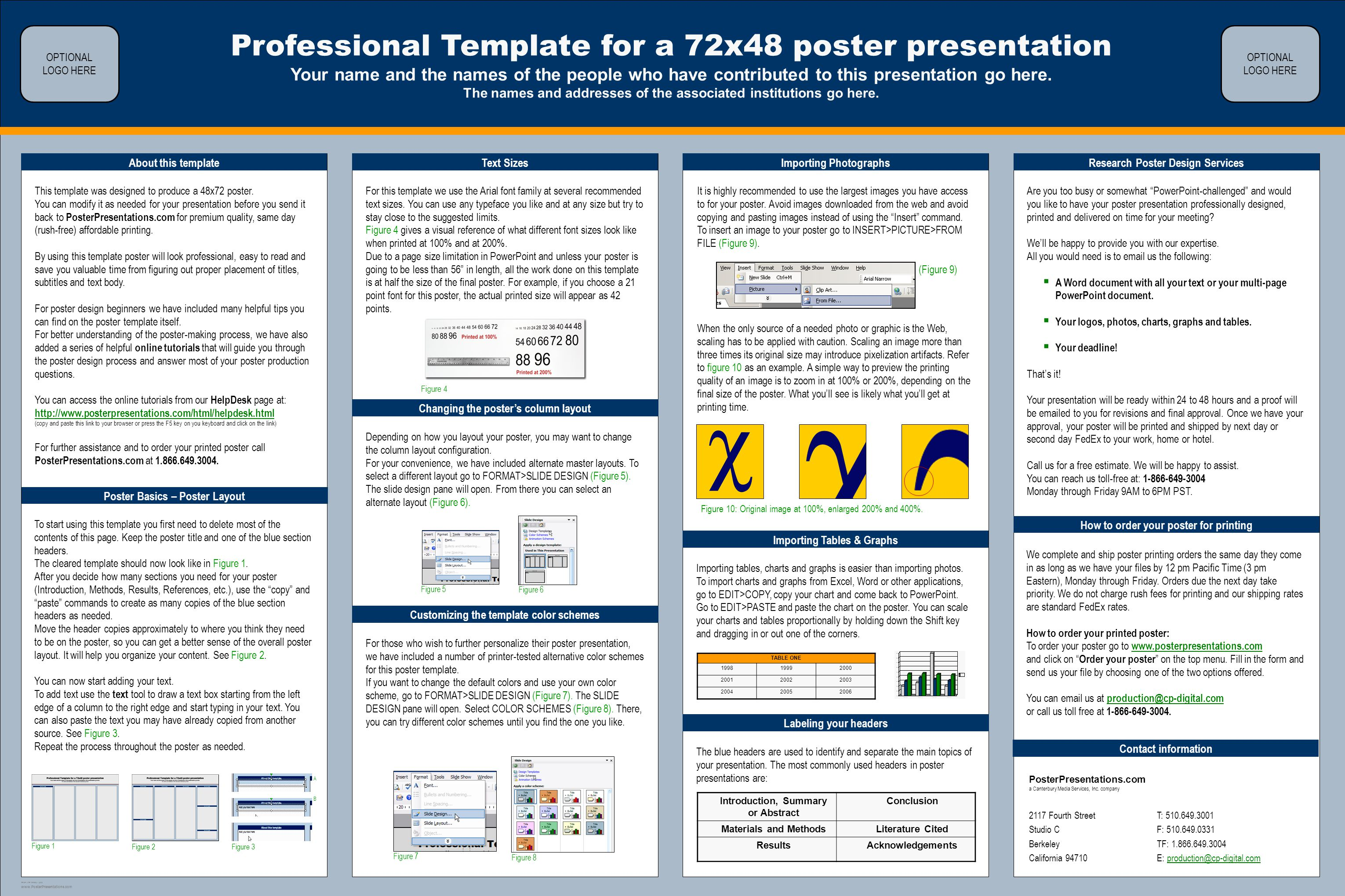 Professional Template for a 72x48 poster presentation