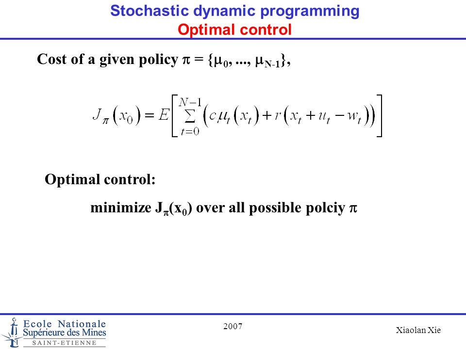 Stochastic dynamic programming Optimal control