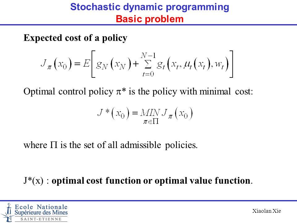 Stochastic dynamic programming Basic problem