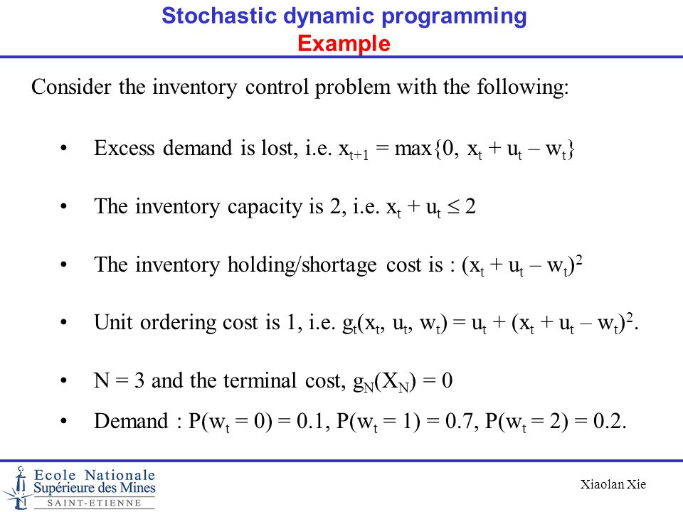 Stochastic dynamic programming Example