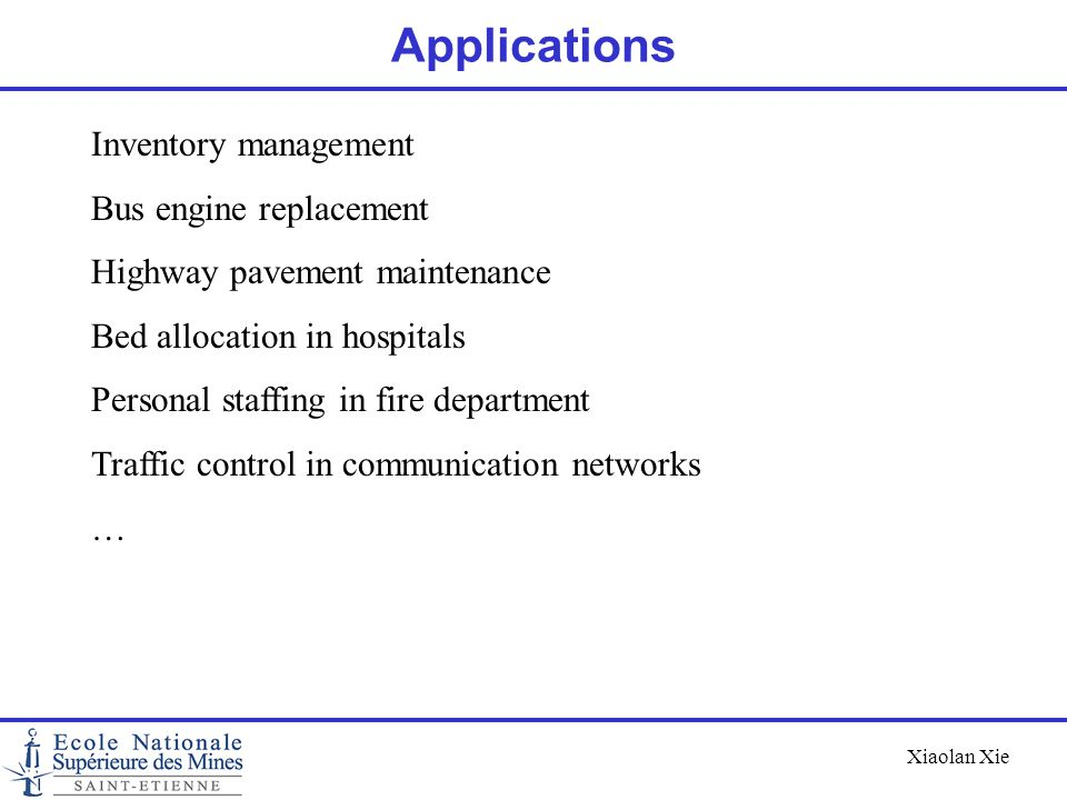 Applications Inventory management Bus engine replacement