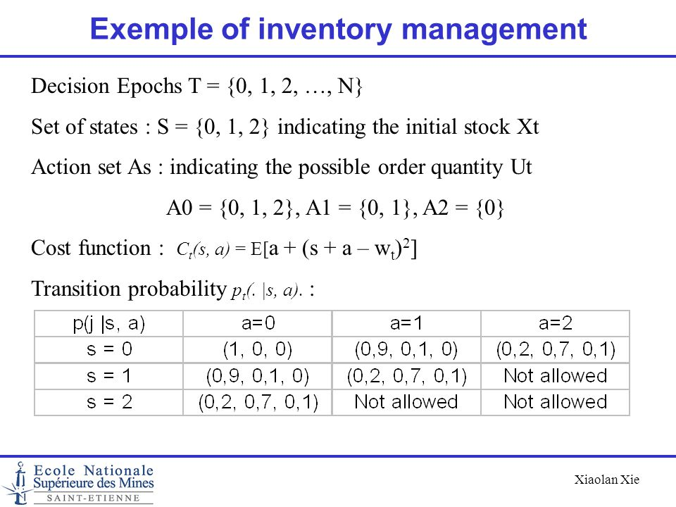 Exemple of inventory management