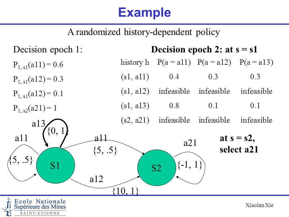 A randomized history-dependent policy