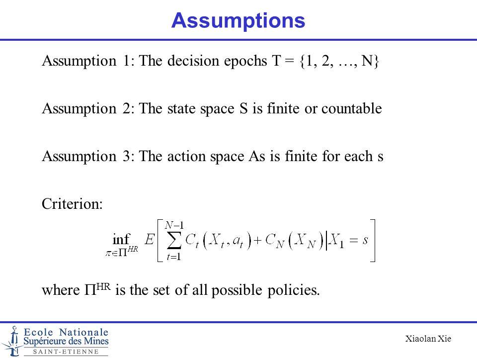 Assumptions Assumption 1: The decision epochs T = {1, 2, …, N}