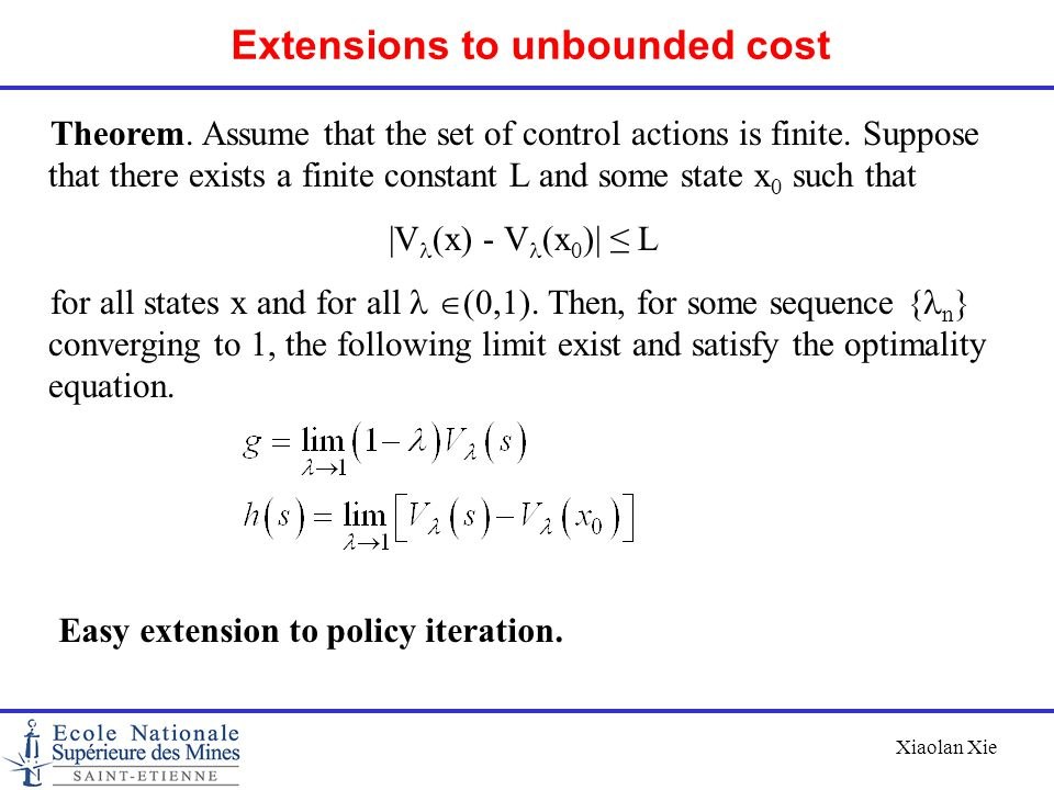Extensions to unbounded cost