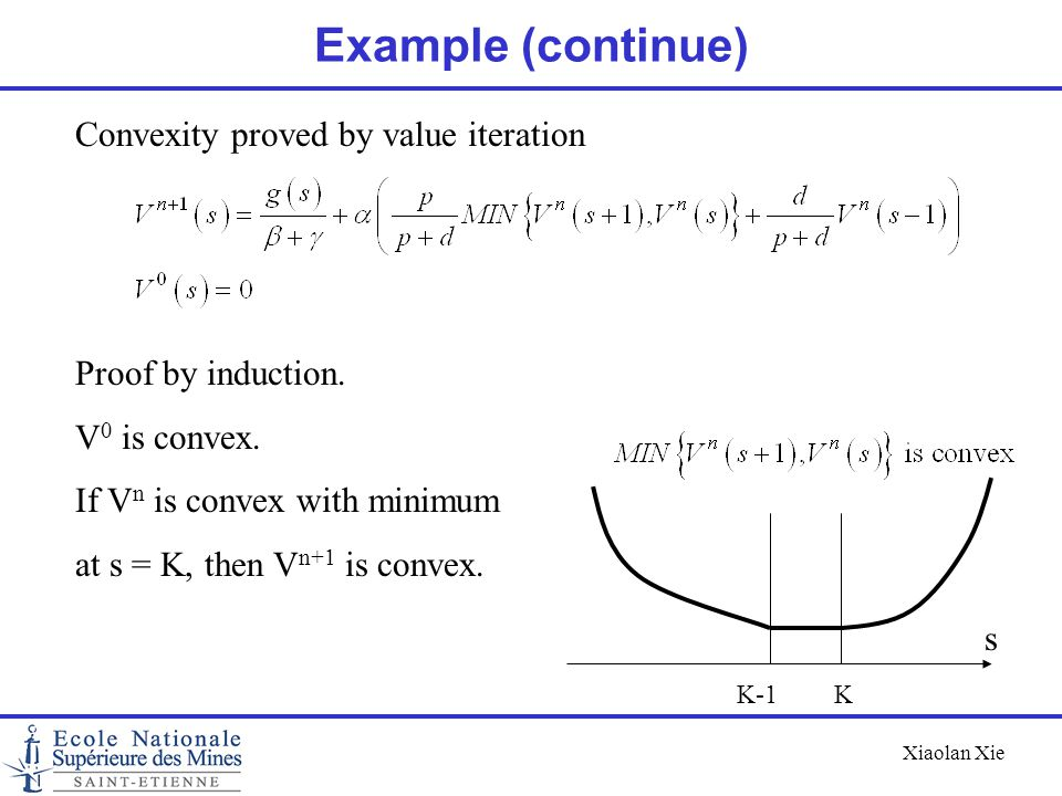 Example (continue) Convexity proved by value iteration