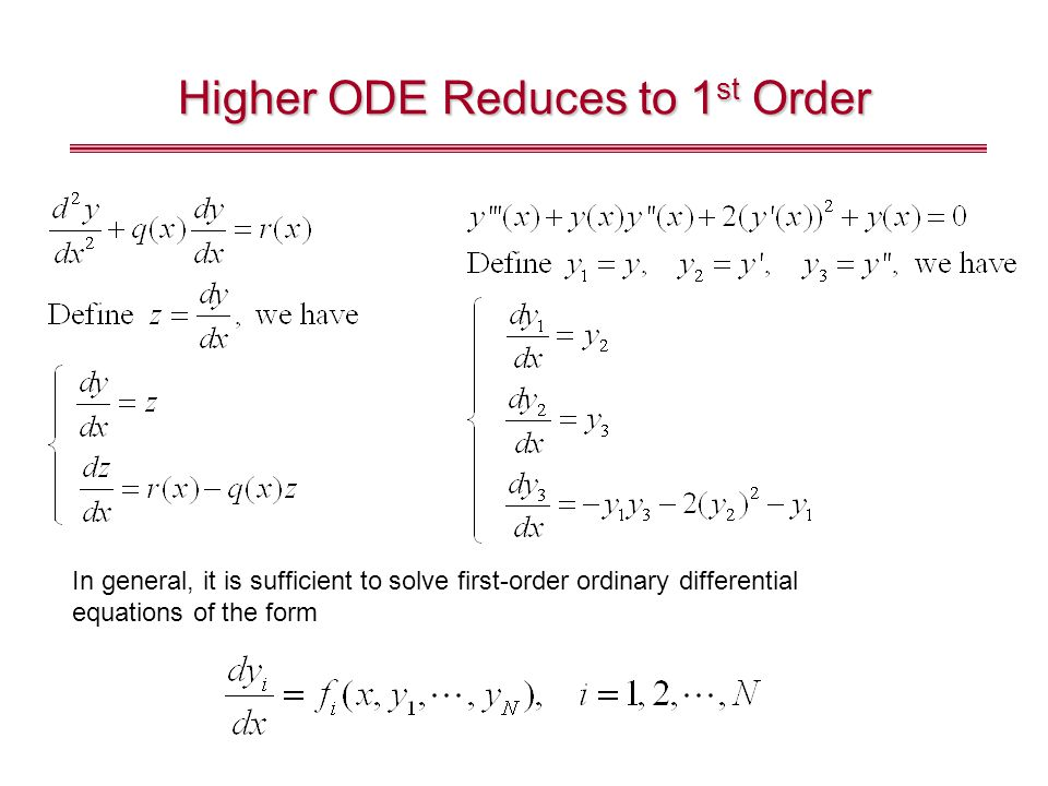 Higher ODE Reduces to 1st Order