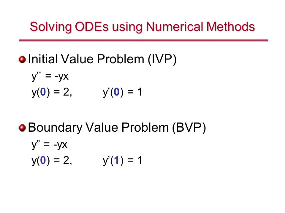 Solving ODEs using Numerical Methods