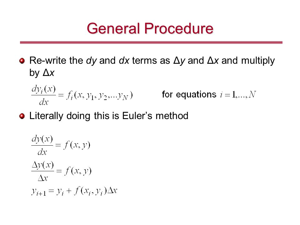 General Procedure Re-write the dy and dx terms as Δy and Δx and multiply by Δx.