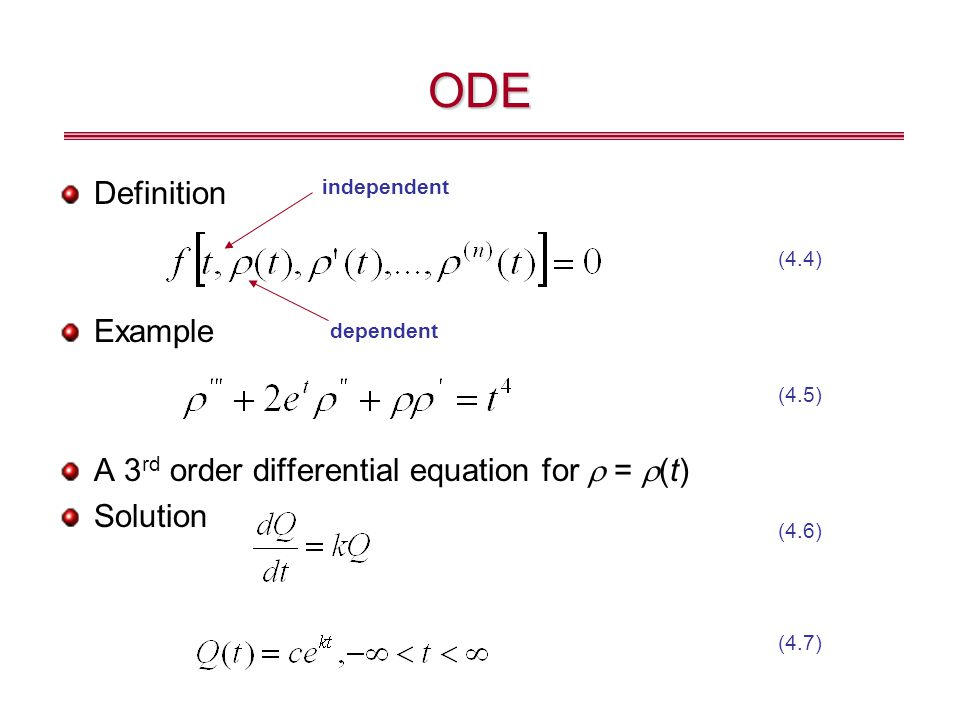 ODE Definition Example A 3rd order differential equation for r = r(t)