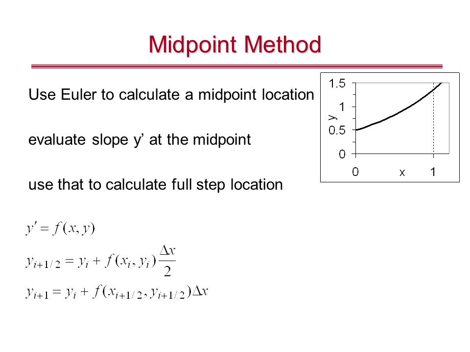 Midpoint Method Use Euler to calculate a midpoint location