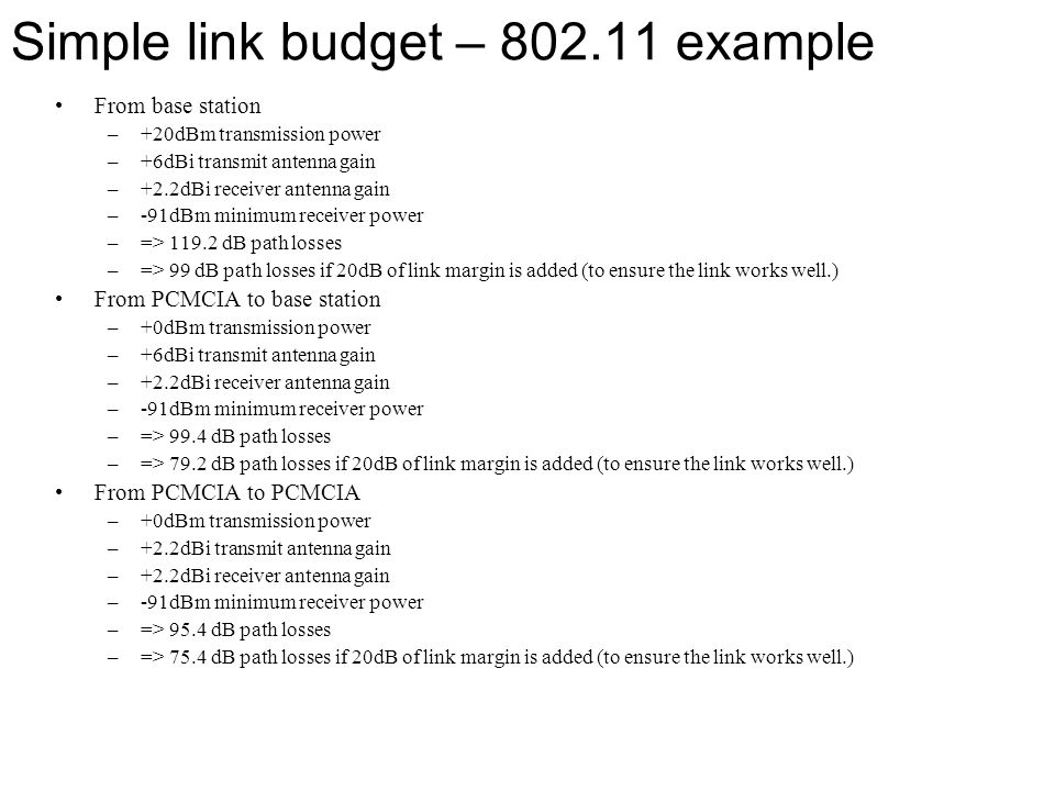 Simple link budget – 802.11 example