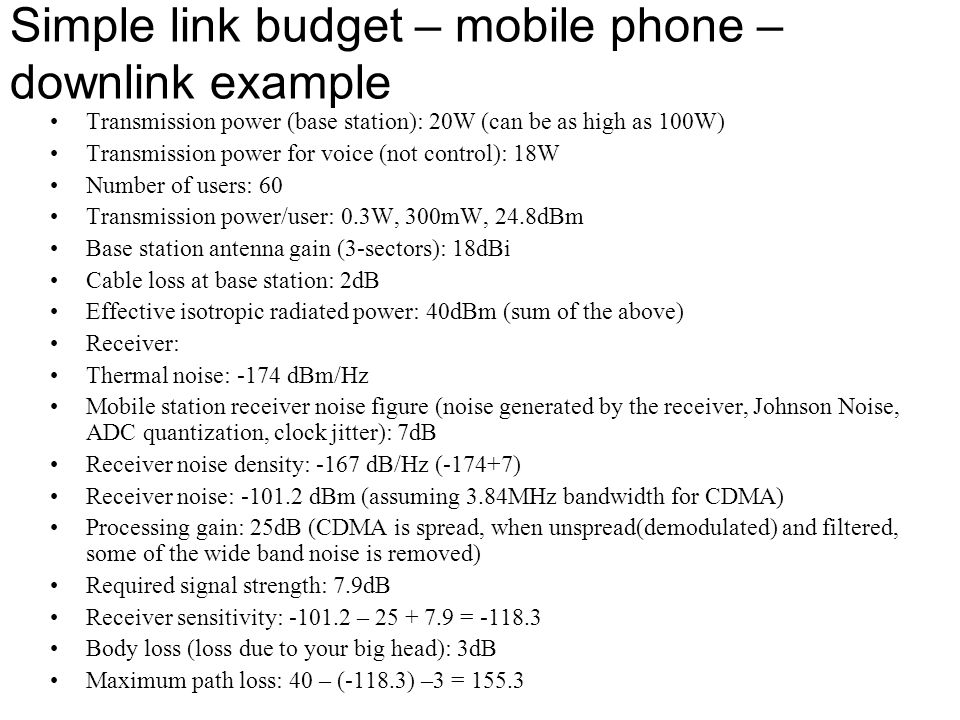 Simple link budget – mobile phone – downlink example