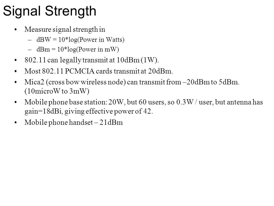 Signal Strength Measure signal strength in