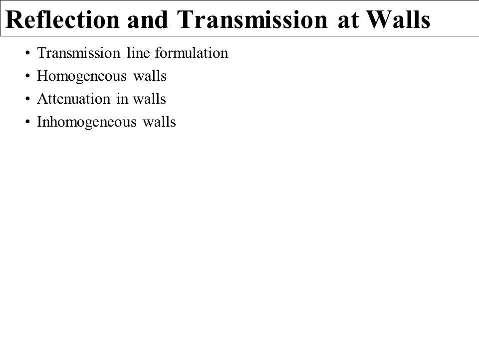 Reflection and Transmission at Walls