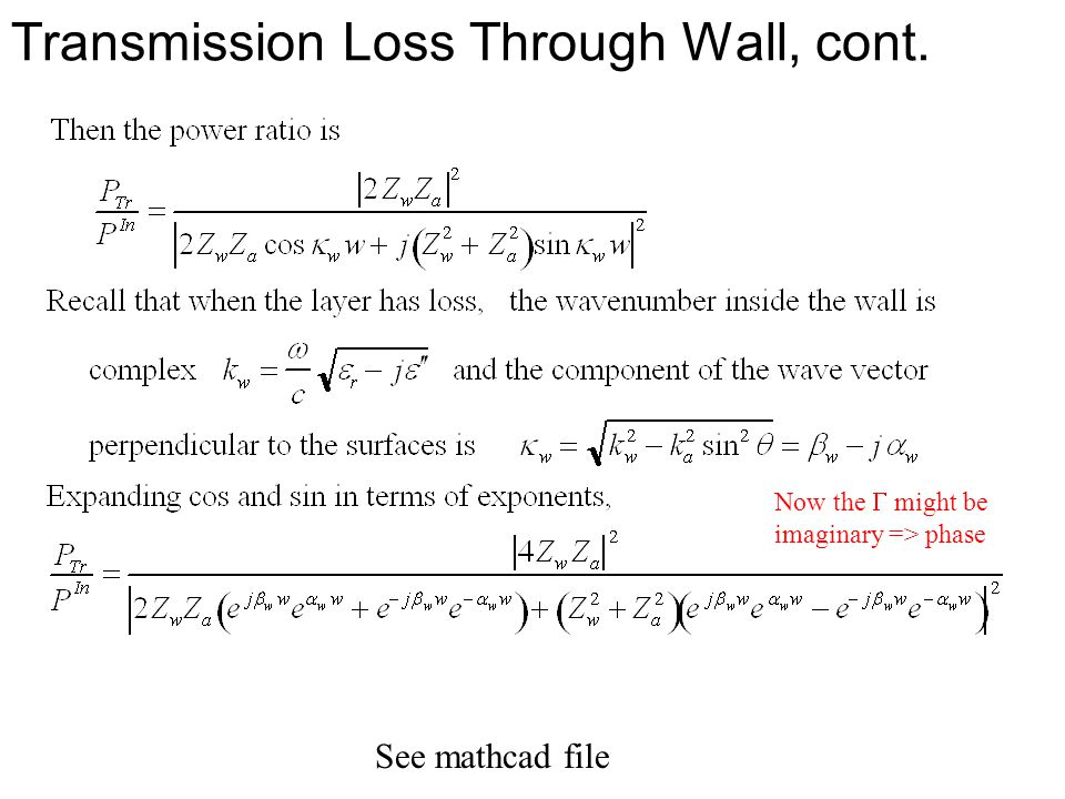 Transmission Loss Through Wall, cont.