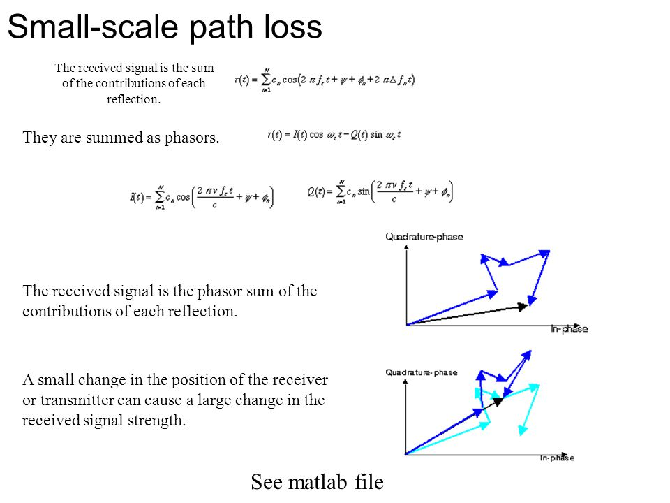 Small-scale path loss See matlab file They are summed as phasors.