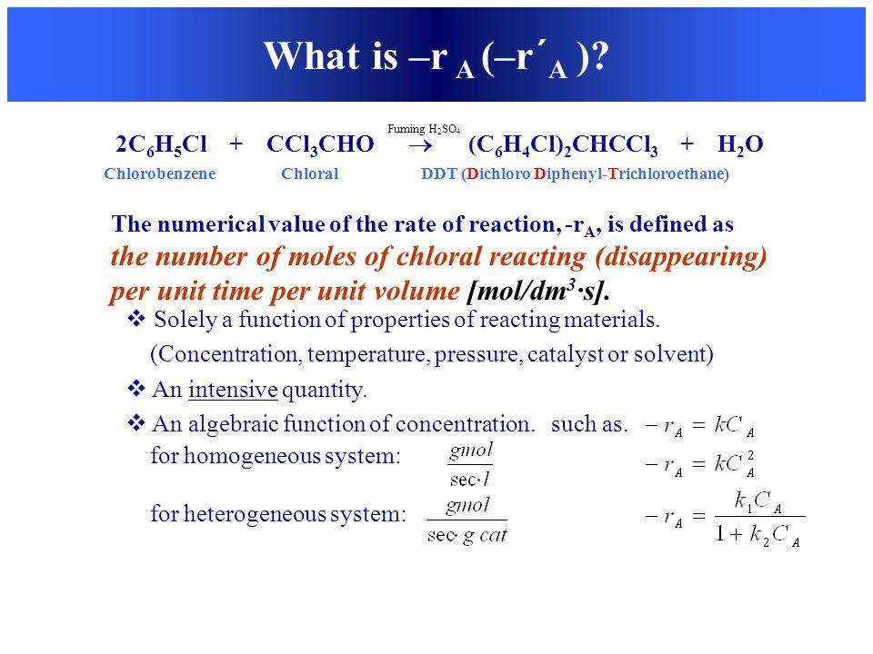 What is –r A (–r´A ) 2C6H5Cl + CCl3CHO  (C6H4Cl)2CHCCl3 + H2O.