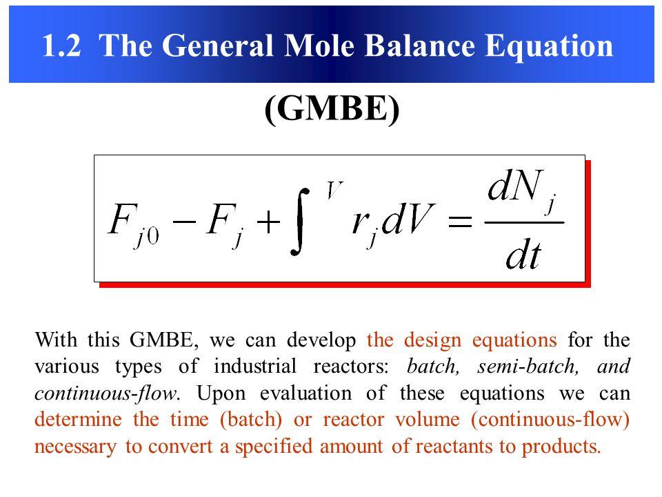 1.2 The General Mole Balance Equation