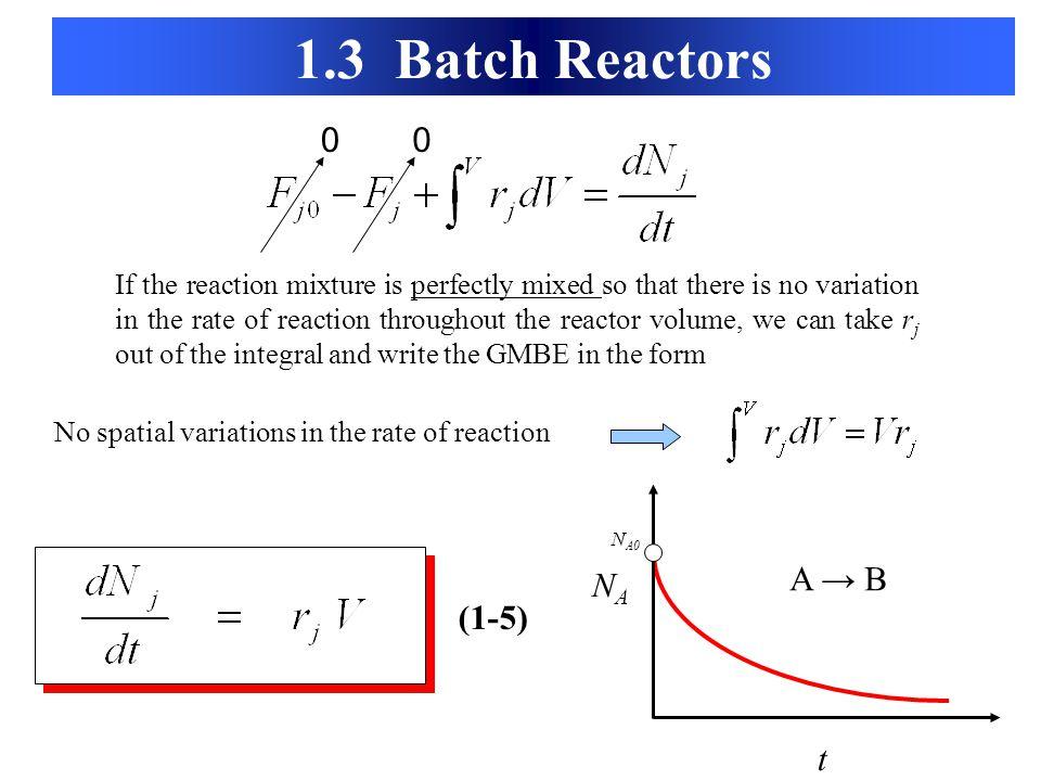 1.3 Batch Reactors A → B NA (1-5) t