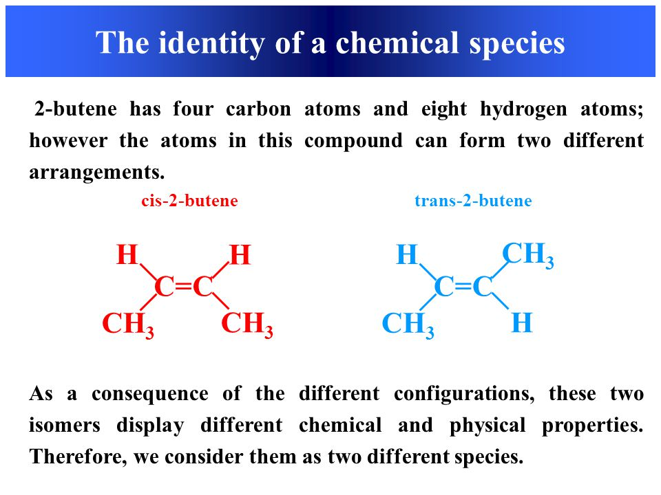 The identity of a chemical species cis-2-butene trans-2-butene