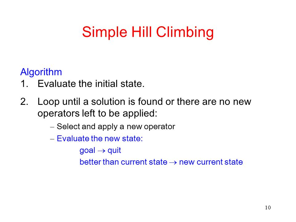 Simple Hill Climbing Algorithm Evaluate the initial state.