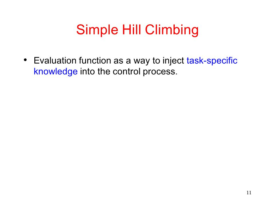 Simple Hill Climbing Evaluation function as a way to inject task-specific knowledge into the control process.