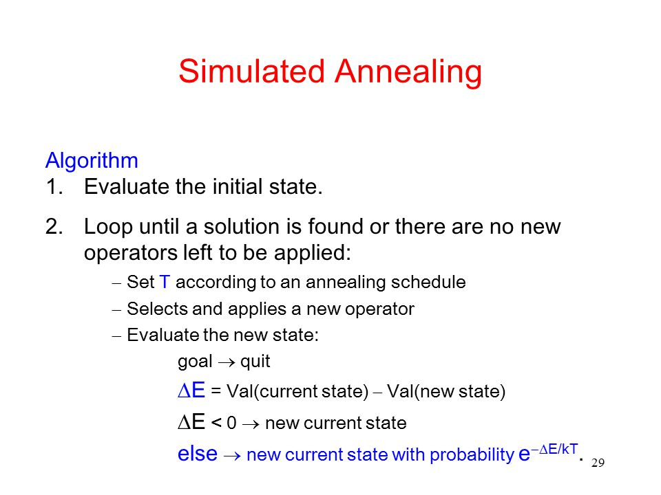 Simulated Annealing Algorithm Evaluate the initial state.