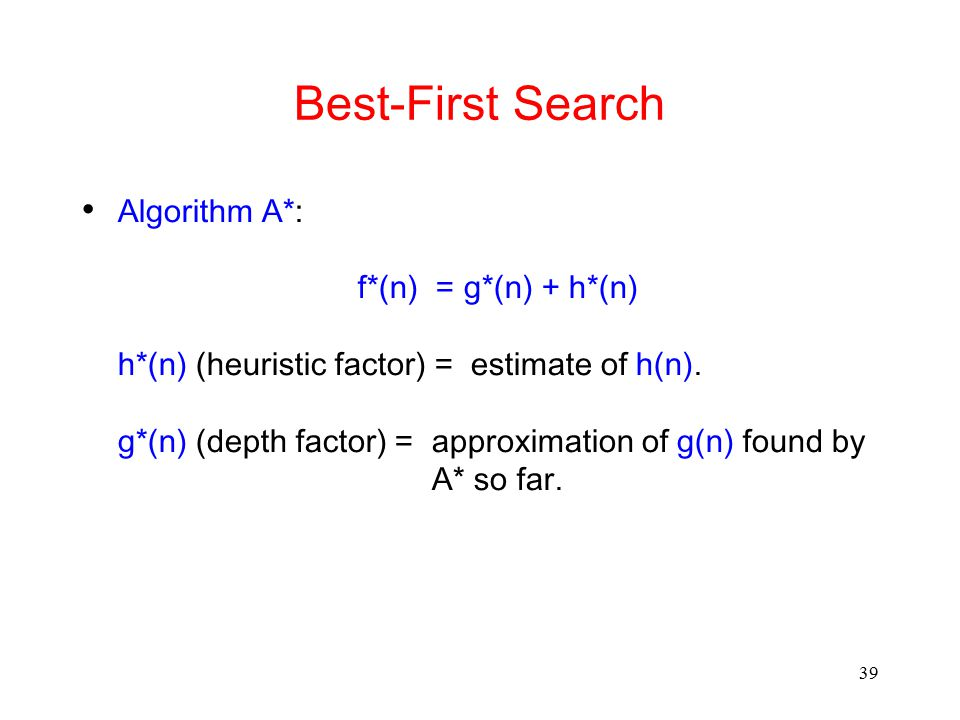 Best-First Search Algorithm A*: f*(n) = g*(n) + h*(n)
