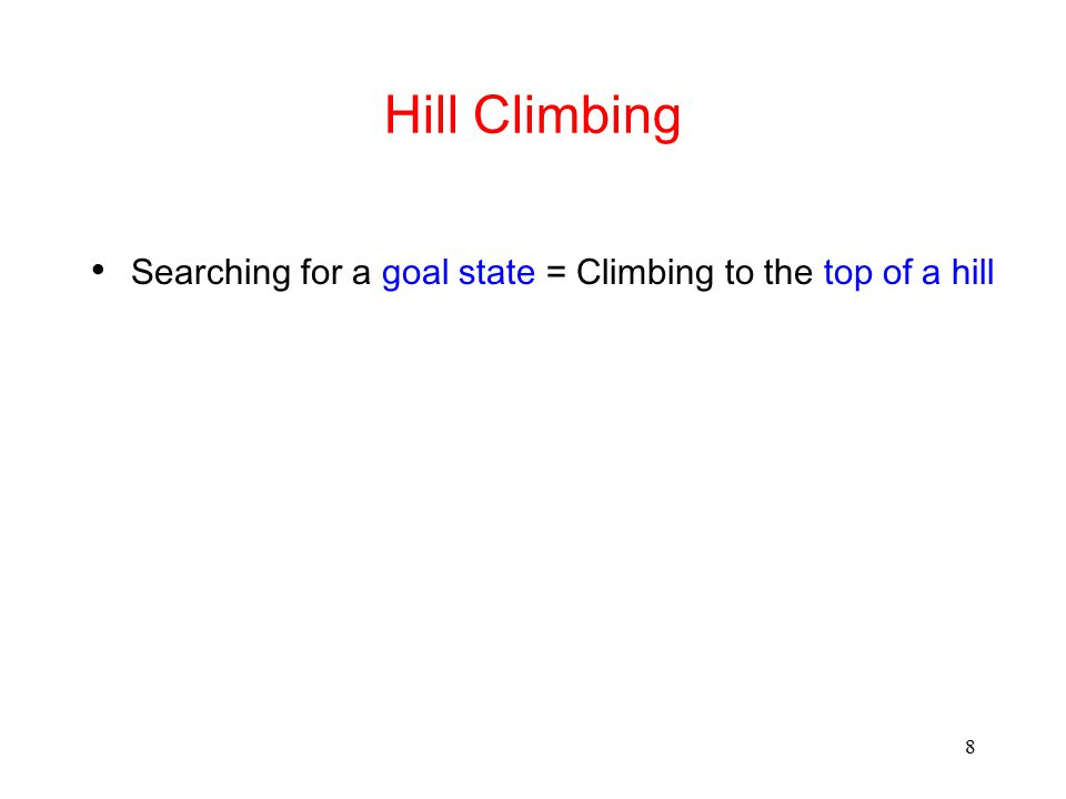 Hill Climbing Searching for a goal state = Climbing to the top of a hill