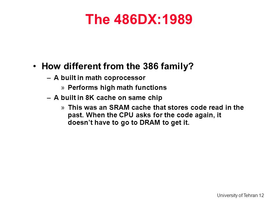 The 486DX:1989 How different from the 386 family